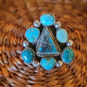 Navajo Turquoise Sterling Silver Triangle Ring